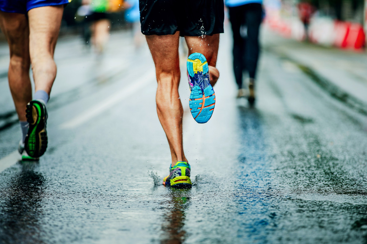 running shoes on runner