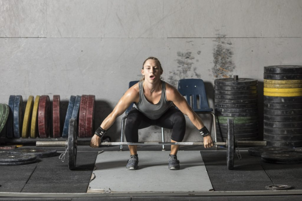 woman with ankle mobility in crossfit
