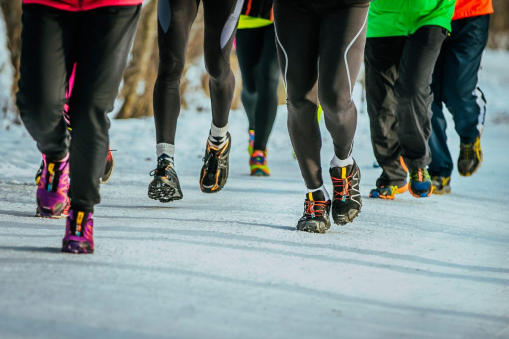 Closeup Of Feet Running Athletes