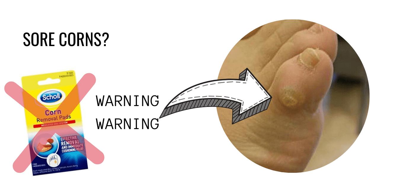 Sore Corns Corn Pads Warning 1