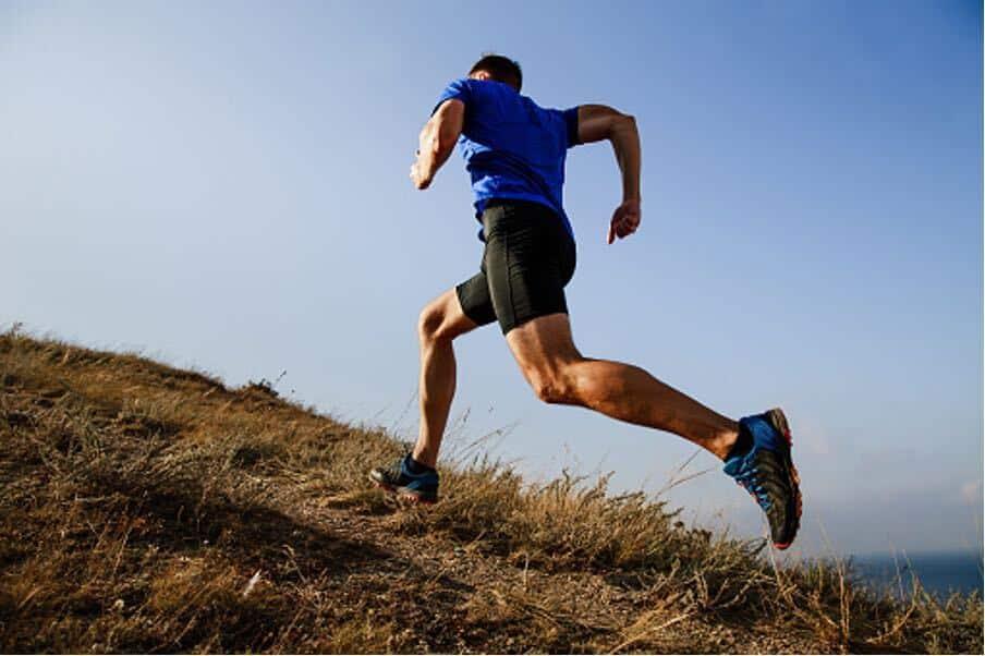 running up a hill